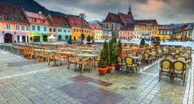 The best Transylvanian touristic town.  Beautiful paved city center with street cafe bar and restaurant, Brasov, Transylvania, Romania, Europe
